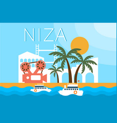 niza travel landmarks city architecture vector image