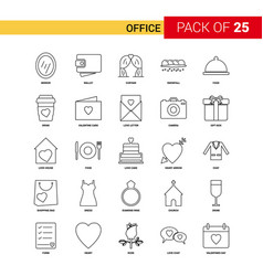 Office black line icon - 25 business outline icon vector
