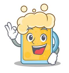 okay beer character cartoon style vector image