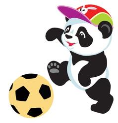 Panda playing with ball vector