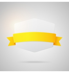 Paper badge with yellow golden ribbon vector