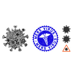 Pathogen collage mers virus icon with medicine vector