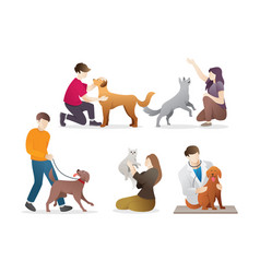 people with their pets vector image