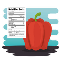 Peppers with nutrition facts vector