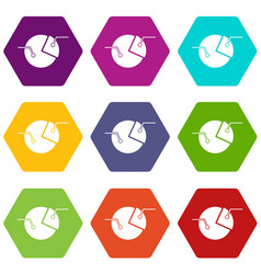 percentage diagram icon set color hexahedron vector image