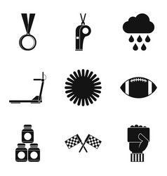 playing on the field icons set simple style vector image