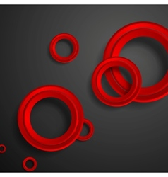 Red circles on black background vector image