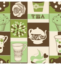 retro tea seamless pattern vector image
