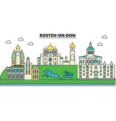 Russia rostov on don city skyline architecture vector