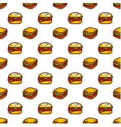 sandwiches and burger seamless pattern vector image