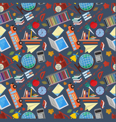 Seamless pattern 1 on a school theme the vector