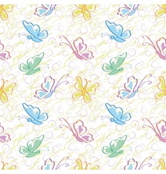 Seamless pattern outline colorful butterflies vector image
