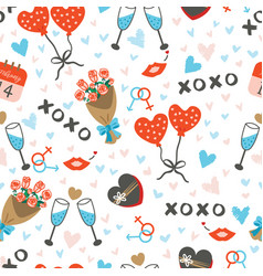 Seamless pattern with cute items for couples vector