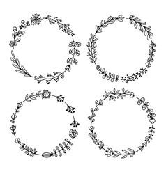 set black doodle wreath frames on white vector image