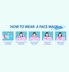 set how to wear medical mask or how to wear and vector image