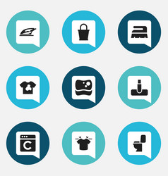 set of 9 editable dry-cleaning icons includes vector image
