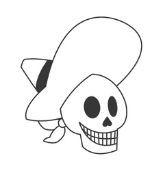 Skull with mexican hat icon vector
