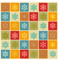 Snowflake icon set Vintage outline version with vector image