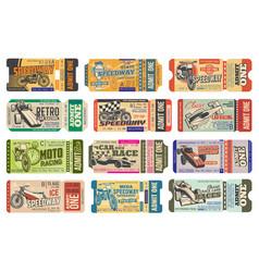 Speedway motorsport racing vintage tickets set vector