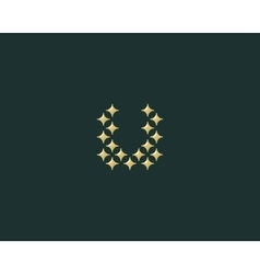 Stars letter U logotype Luxury abc icon vector