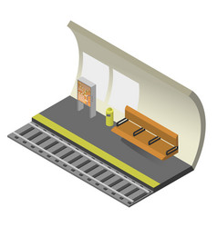 subway train station with rail track bench vector image