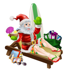 Surf summer santa vector