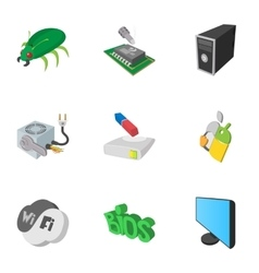 Treatment computer icons set cartoon style vector