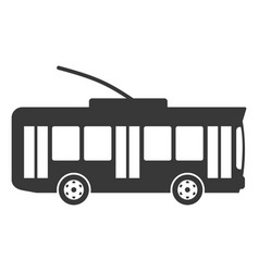 trolley bus black icon city passenger car vector image