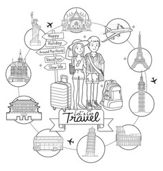 two people go to travel around world landmark vector image