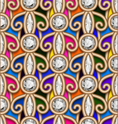 vintage jewelry seamless pattern with gold swirls vector image