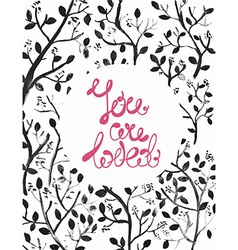 Watercolor natural with dark branches and text vector image