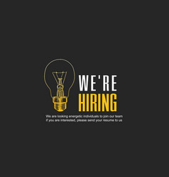 We are hiring concept design with yellow outline vector