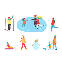Winter activities skiing skating on rink vector
