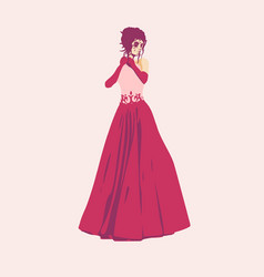 Woman silhouette in dress vector