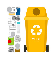 Yellow garbage can with metal trash vector