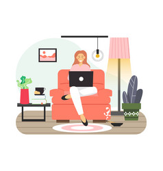 Young woman studying from home girl sitting vector