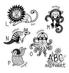 animals alphabet l - p for children vector image