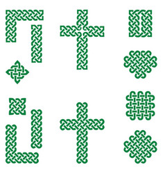Celtic style endless knot symbols in green vector