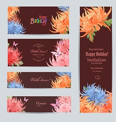 collection of greeting cards with a chrysanthemum vector image