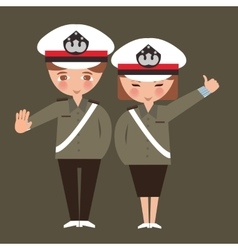 kids boy and girl wearing police cop uniform vector image