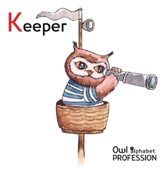 Alphabet professions Owl Letter K - Keeper vector image
