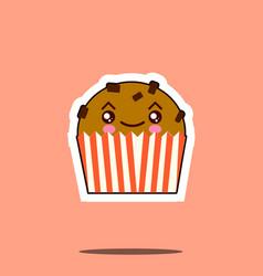cute kawaii cupcake funny emoticon face icon vector image vector image