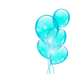 Flying blue balloons isolated on white background vector image