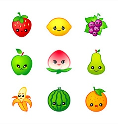 Kawaii fruits vector image vector image