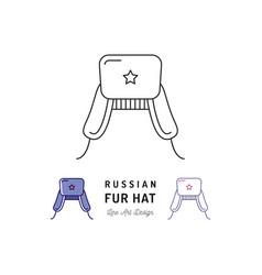 russian fur hat icon ushanka russian treval thin vector image vector image