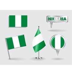 Set of nigerian pin icon and map pointer flags vector