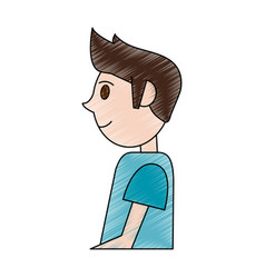 color pencil cartoon side view half body man with vector image vector image