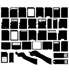 Set of different electronic storage devices vector image vector image
