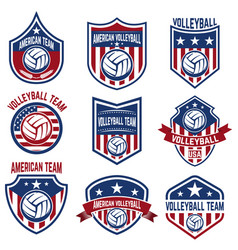 American volleyball team labels design elements vector