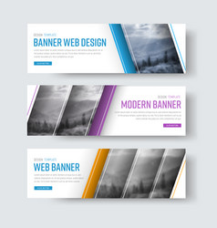 design of white banners with diagonal stripes for vector image vector image